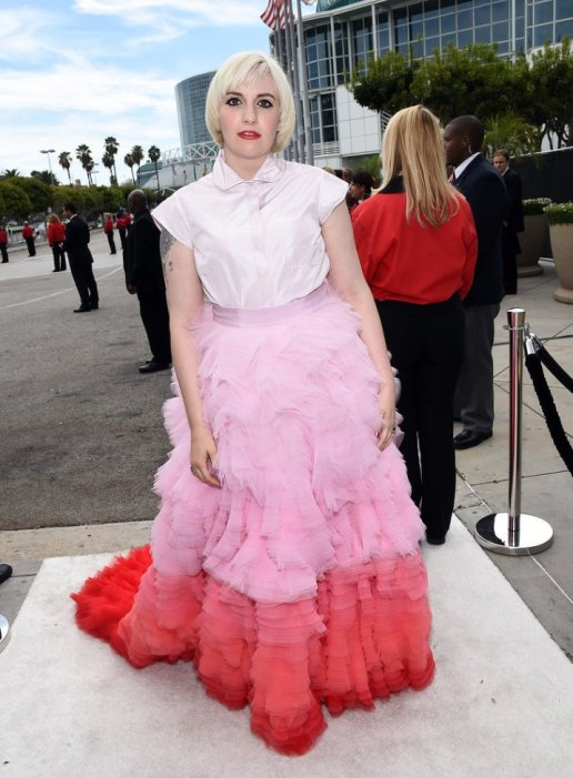 Lena Dunham in Giambattista Valli Couture at 2014 Primetime Emmy Awards
