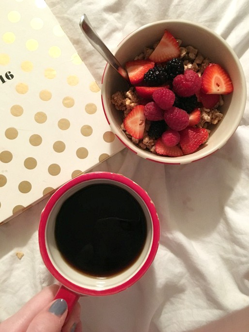 Vegan Breakfast: Cinnamon Crumble Cereal with Coconut Milk and Mixed Berries - with a side of black coffee!