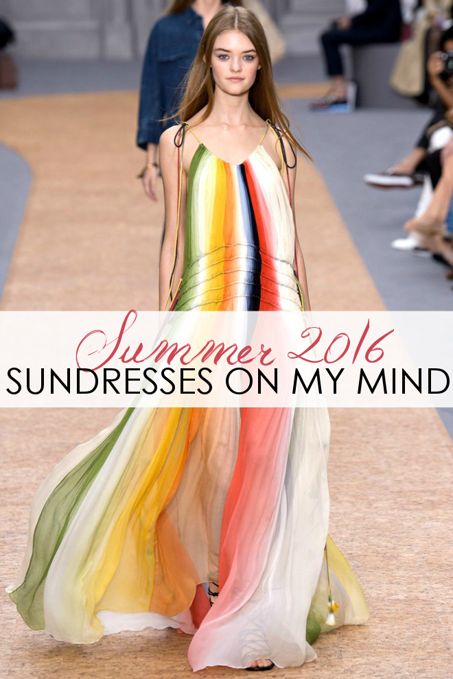Chloe Spring/Summer 2016 Rainbow Colored Maxi Dress