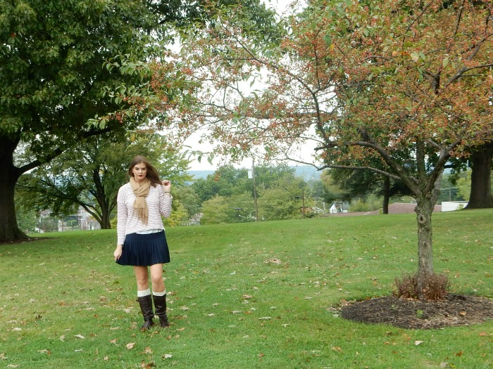 Fall Bucket List - Brown Boots, Navy Skirt, Cashmere Scarf and Leg Warmers