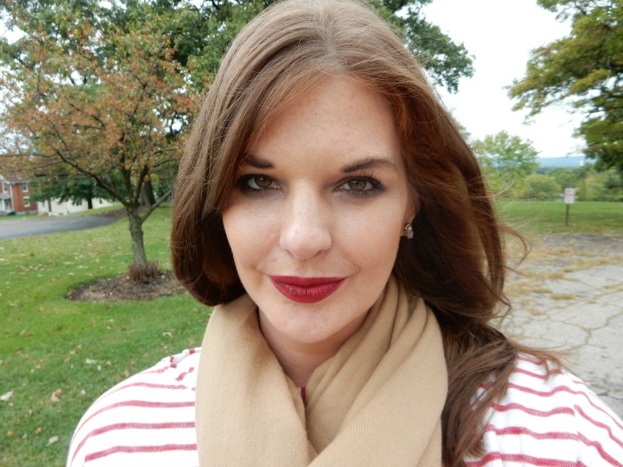 Fall Makeup Look - Oxblood Lip with matte skin and cashmere scarf