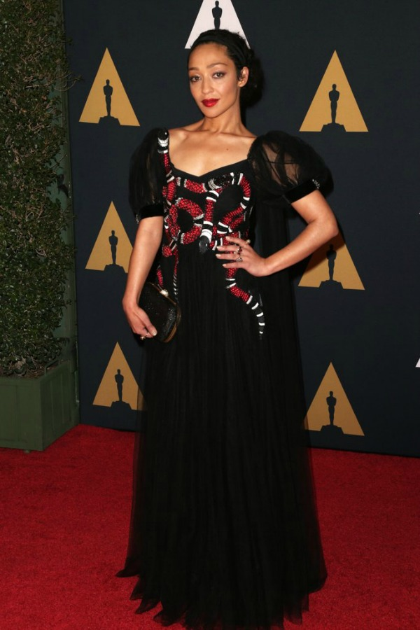 Ruth Negga in Gucci on the 2016 Governors Awards Red Carpet - Dream in Lace