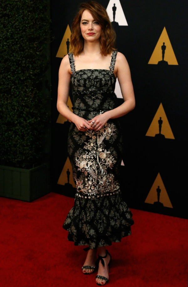 Emma Stone in Erdem on the 2016 Governors Awards Red Carpet - Dream in Lace