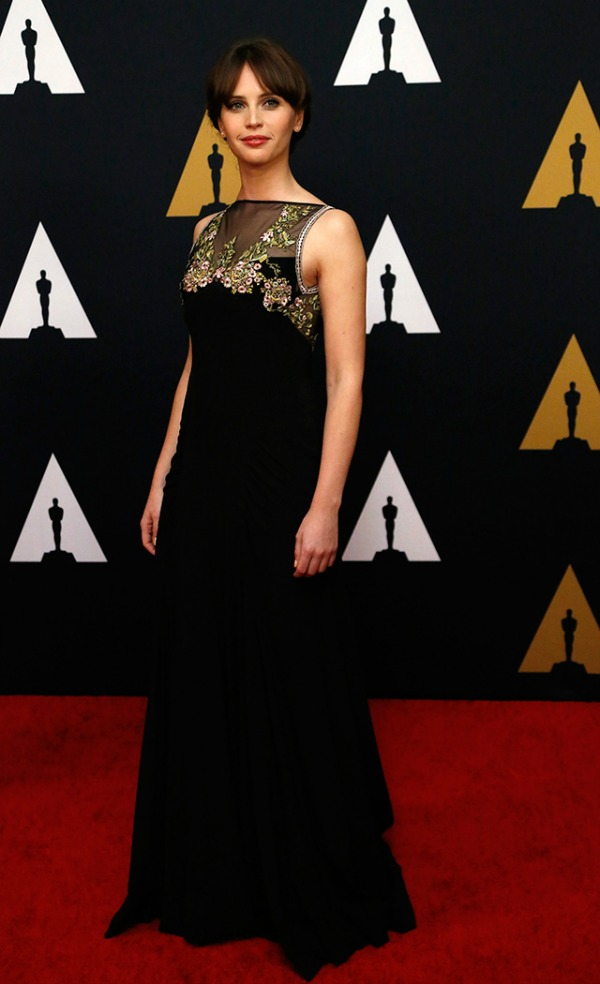 Felicity Jones in Miu Miu on the 2016 Governors Awards Red Carpet - Dream in Lace