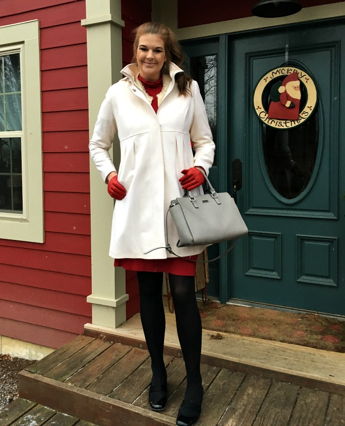 Holiday Shopping outfit in a cream DKNY coat with red gloves and red dress. - Dream in Lace