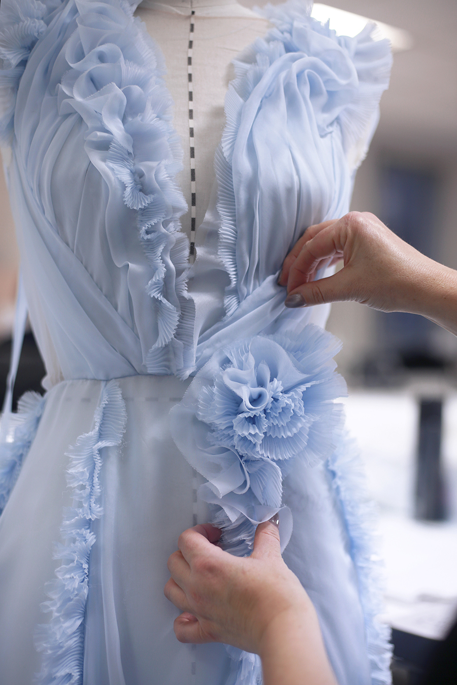 Backstage at Ralph & Russo couture, the atelier puts the final touches on Spring 2017