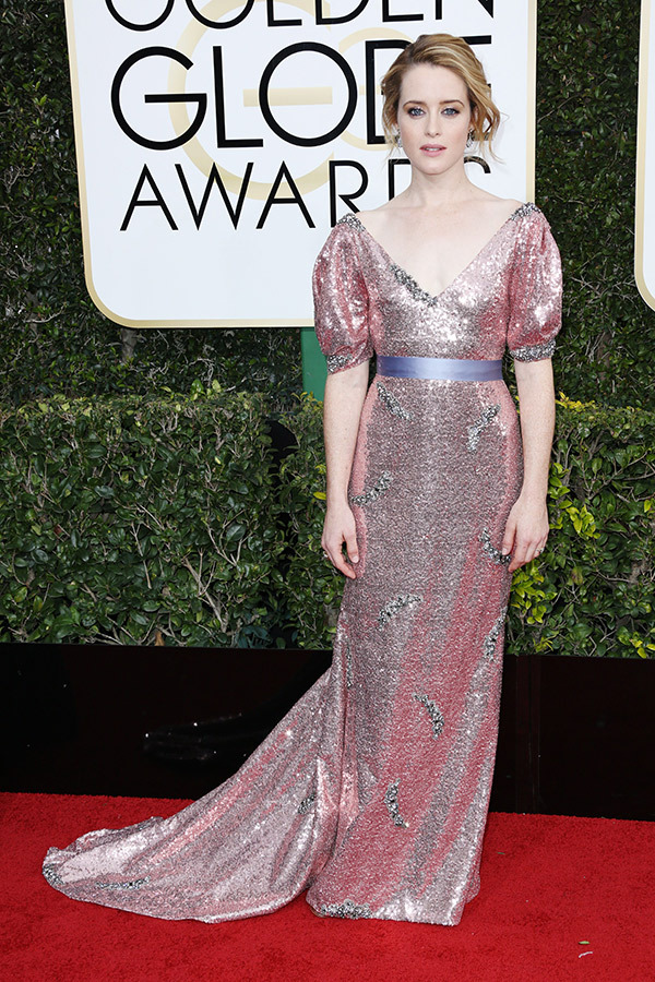 Claire Foy in Dolce and Gabbana on the 2017 Golden Globes Red Carpet