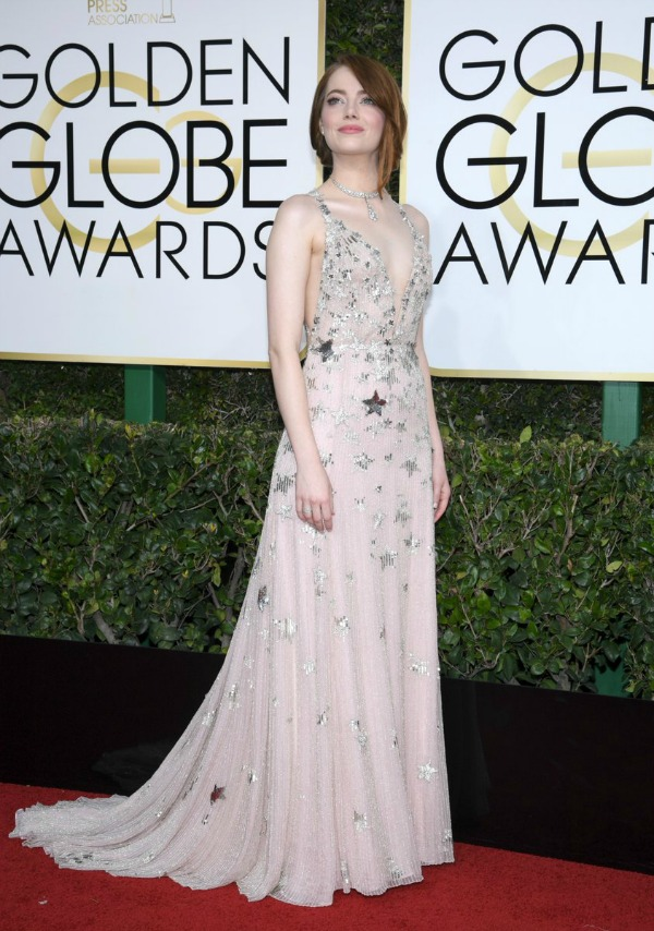 Emma Stone in Valentino on the 2017 Golden Globes Red Carpet