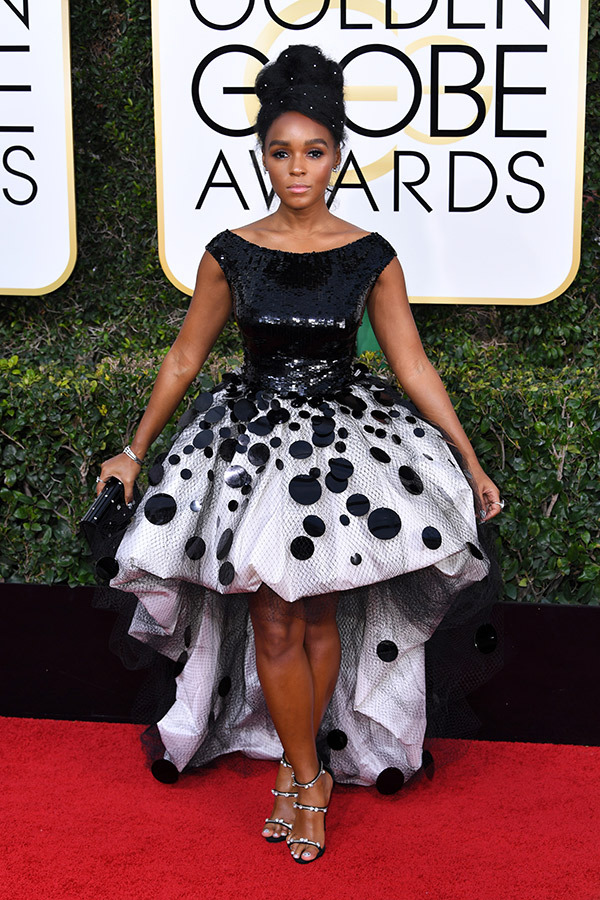 Janelle Monae in Armani Prive at the 2017 Golden Globes Red Carpet