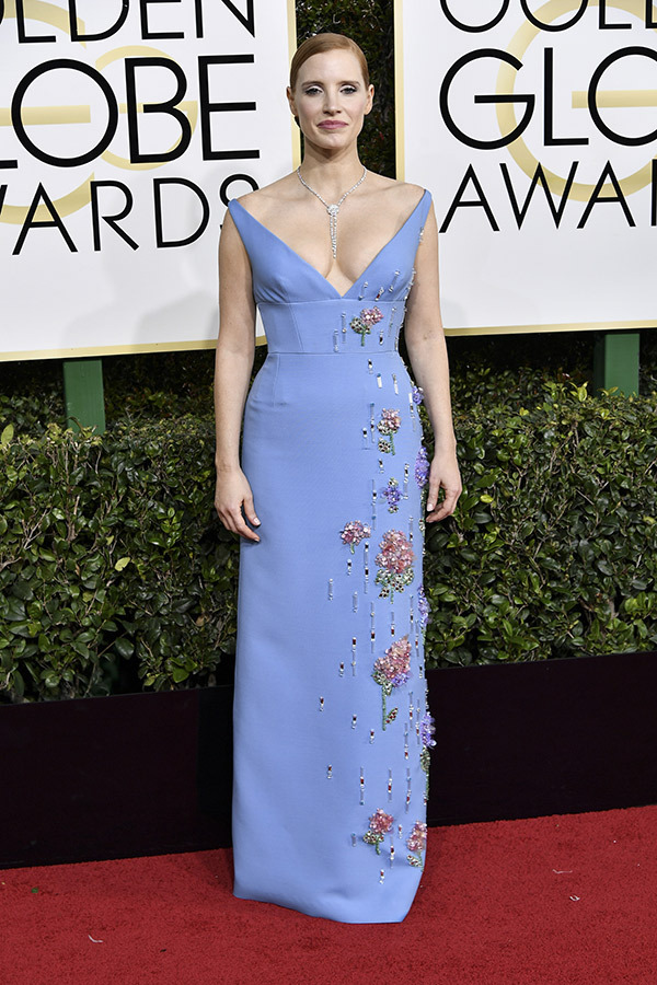 Jessica Chastain in Prada at the 2017 Golden Globes Red Carpet