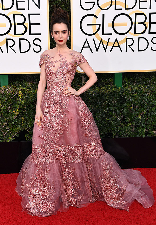 Lily Collins in Zuhair Murad on the 2017 Golden Globes Red Carpet