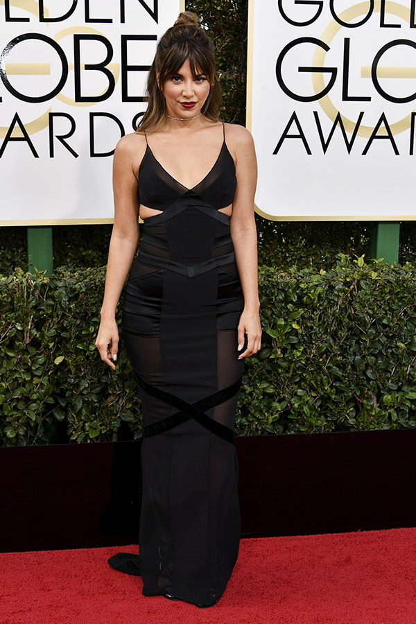 Liz Hernandez in Alexandre Vauthier at the 2017 Golden Globes Red Carpet