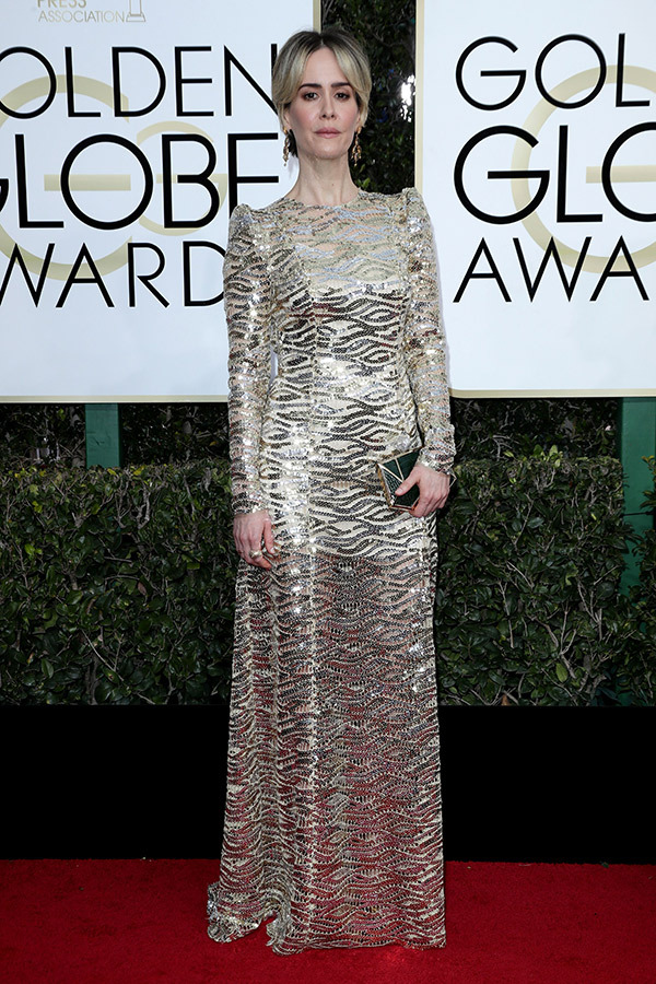 Sarah Paulson in Marc Jacobs at the 2017 Golden Globes Red Carpet