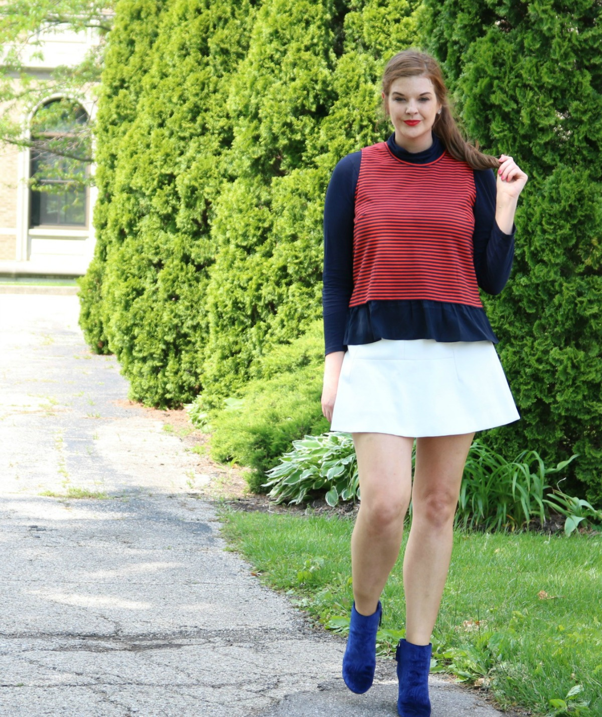 Labor Day Sale Round-Up I Red, White and Blue Outfit with Velvet Booties