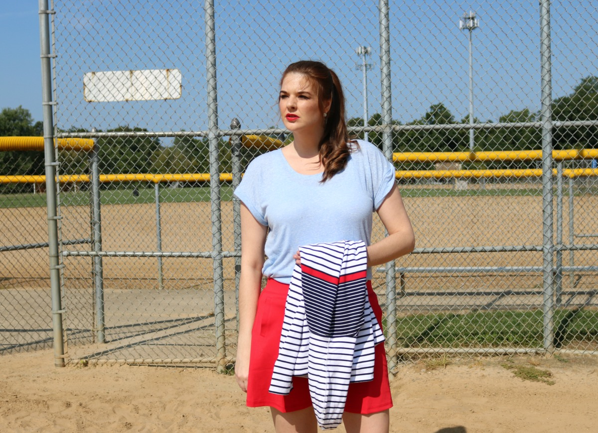 T by Talbots Sportswear Outfit with Red Skort and Striped Pullover I DreaminLace.com