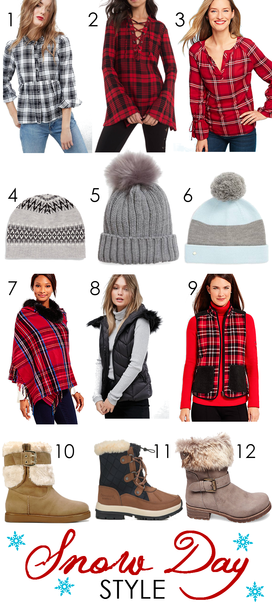 Snow Day Style Picks I Winter Plaid, Pompom Hats, Vests and Snow Boots