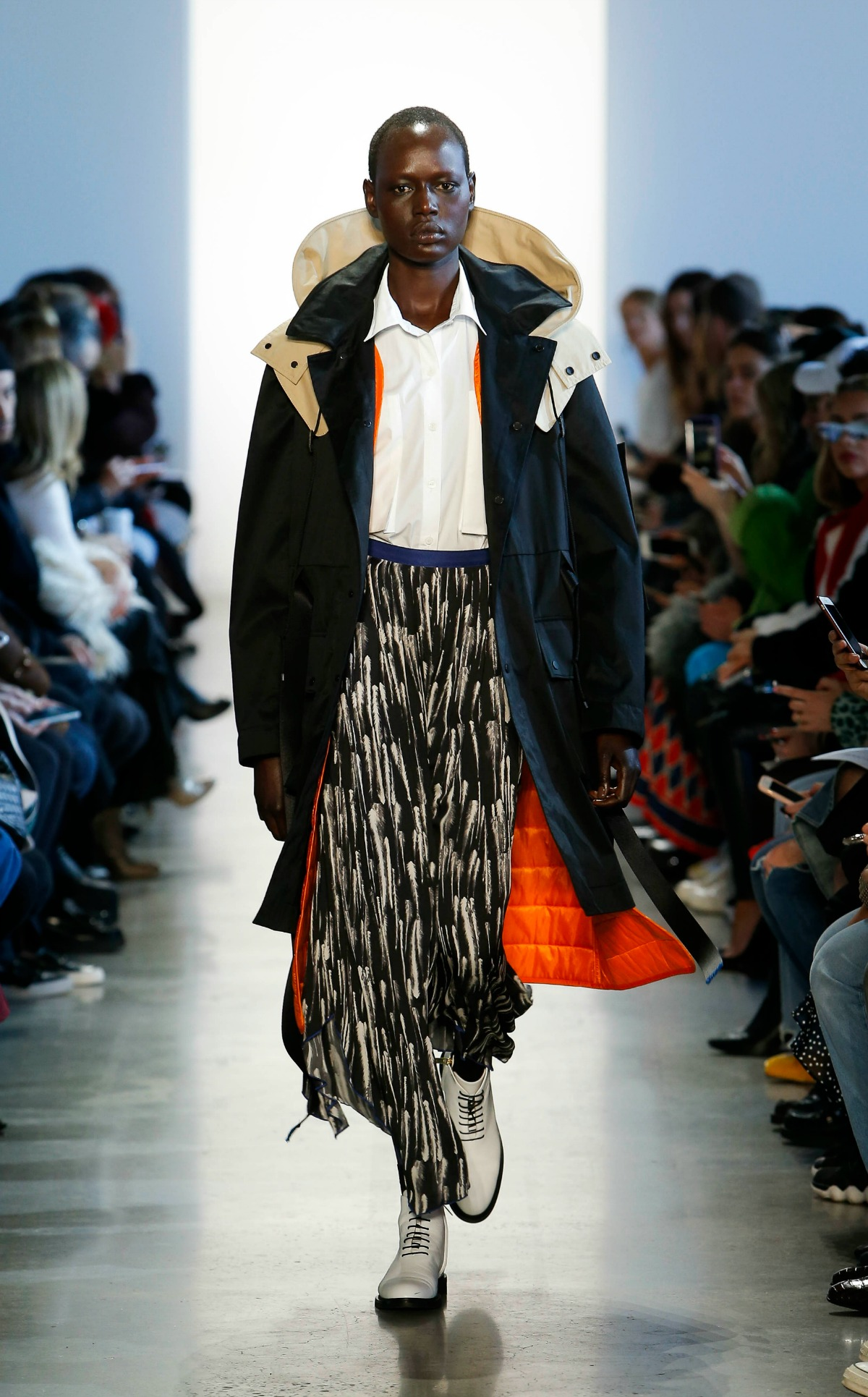 COLOVOS Fall 2018 Runway at NYFW I Parka Over Silk Feather-Printed Skirt #NYFW #WinterFashion