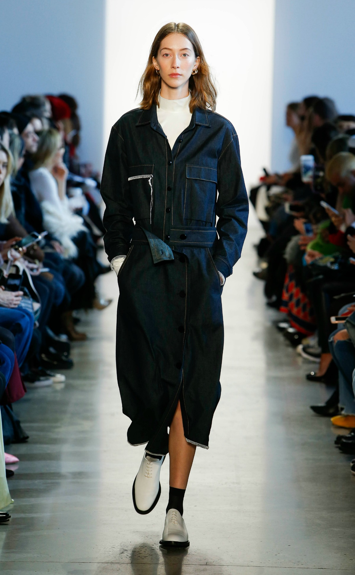 COLOVOS Fall 2018 Runway at NYFW I Chambray Shirtdress with Faux Leather Turtleneck #NYFW #WinterFashion