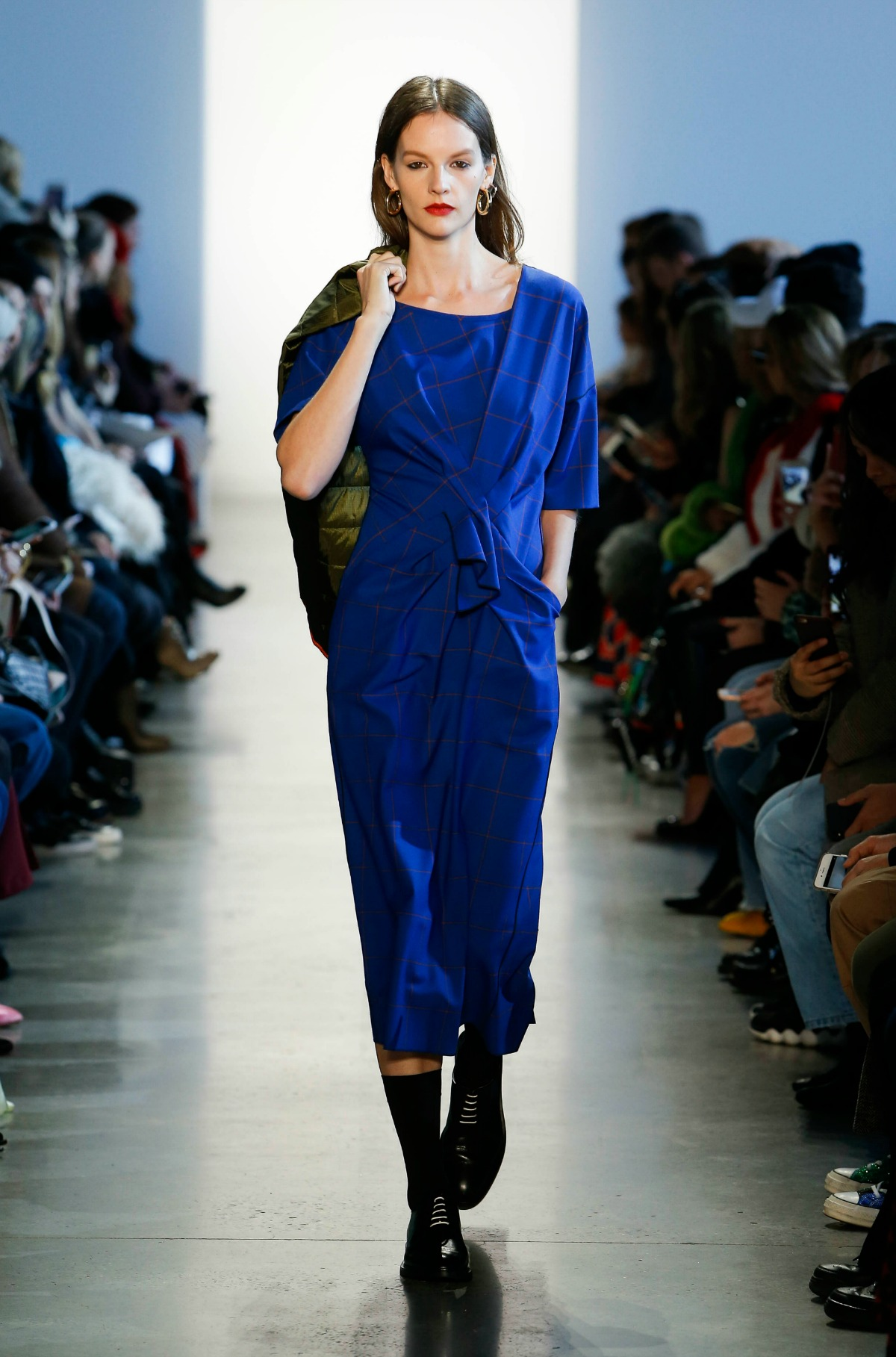 Colovos Fall 2018 Runway at New York Fashion Week I Blue Wool Dress with Front-Tie #NYFW #WinterFashion