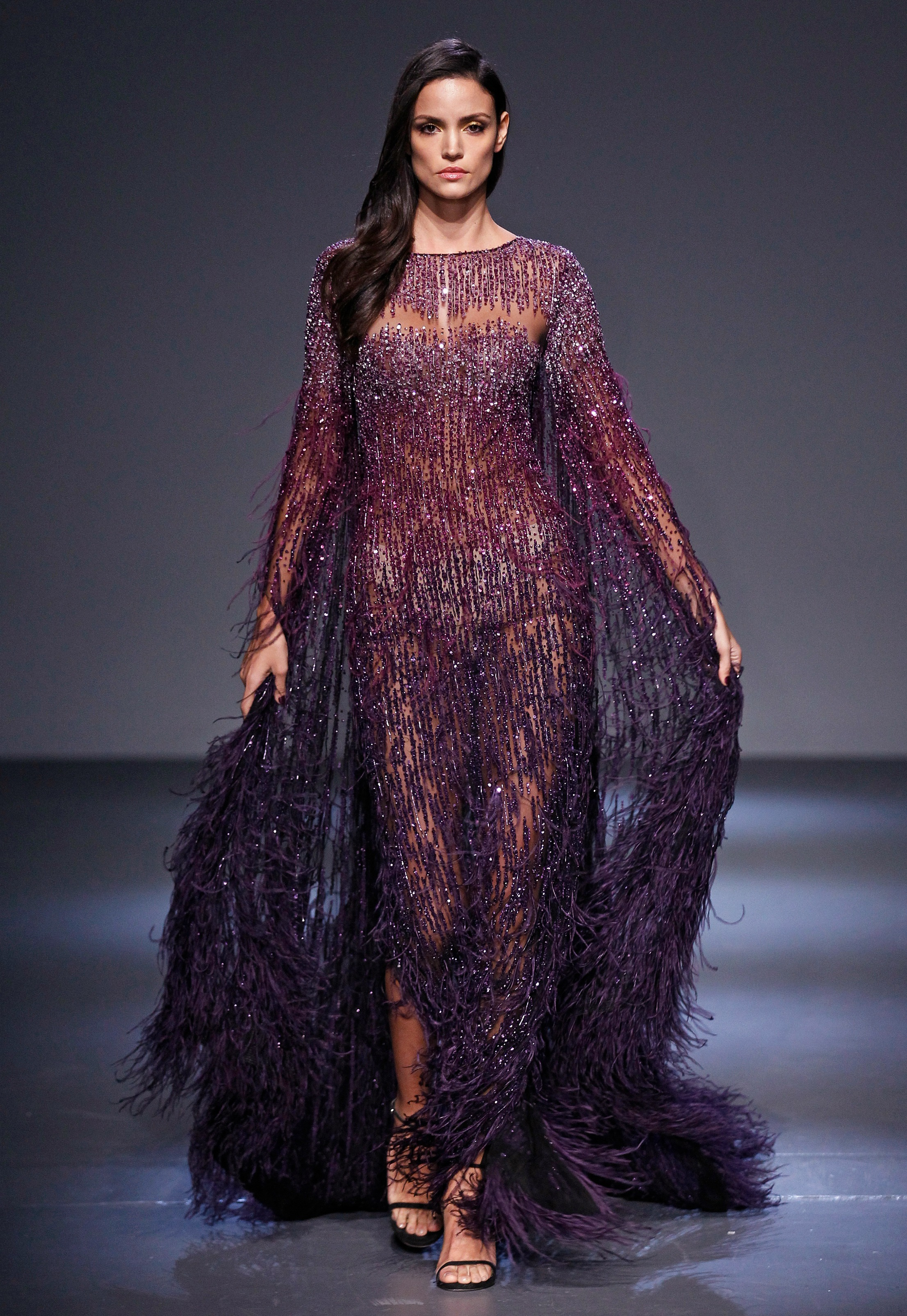 Pamella Roland Fall 2018 Runway I Amethyst Purple Sequin and Feathered Kimono Cape Gown
