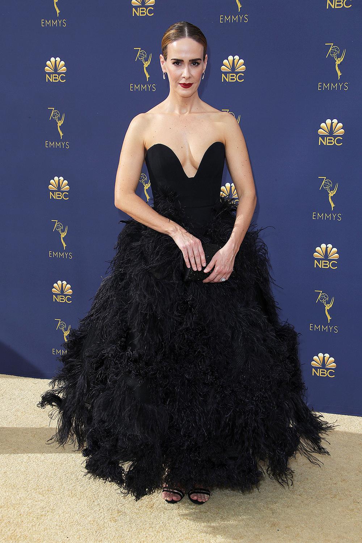 2018 Best Dressed Emmys I Sarah Paulson in Oscar de la Renta #BestDressed #Emmys #RedCarpet #Fashionista