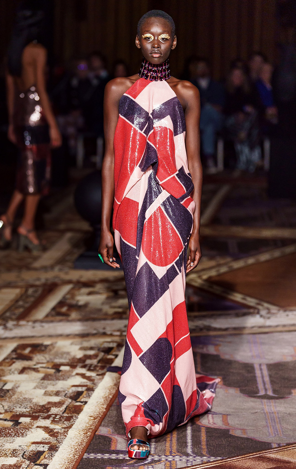 Best London Fashion Week Looks Off the Fall 2019 Runways I Halpern Halter Evening Gown #FashionWeek #LFW #DesignerFashion