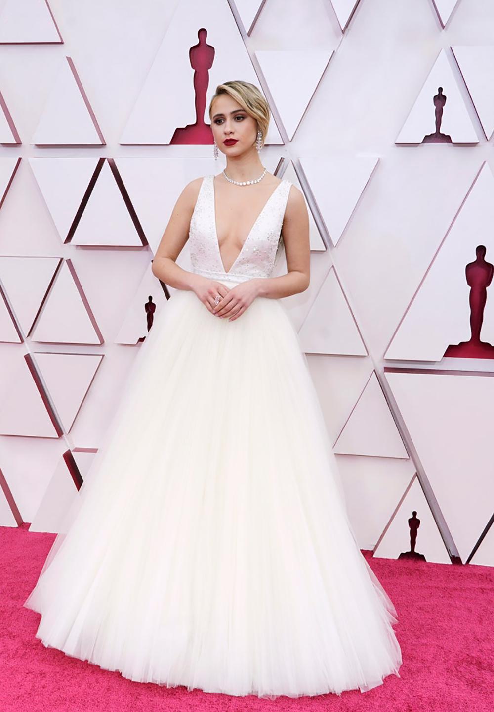 2021 Oscars Fashion I Maria Bakalova in custom Louis Vuitton