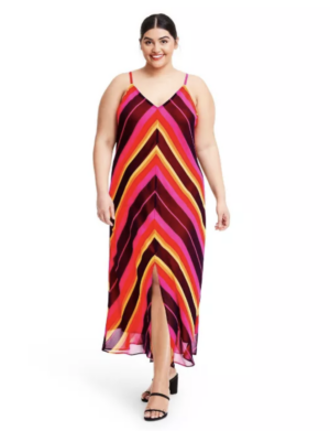 Christopher John Rogers Target Collection I Striped Chevron Slip Dress