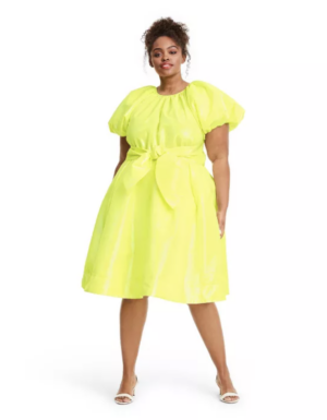 Christopher John Rogers Target Collection I Lime Puff Sleeve Volume Dress