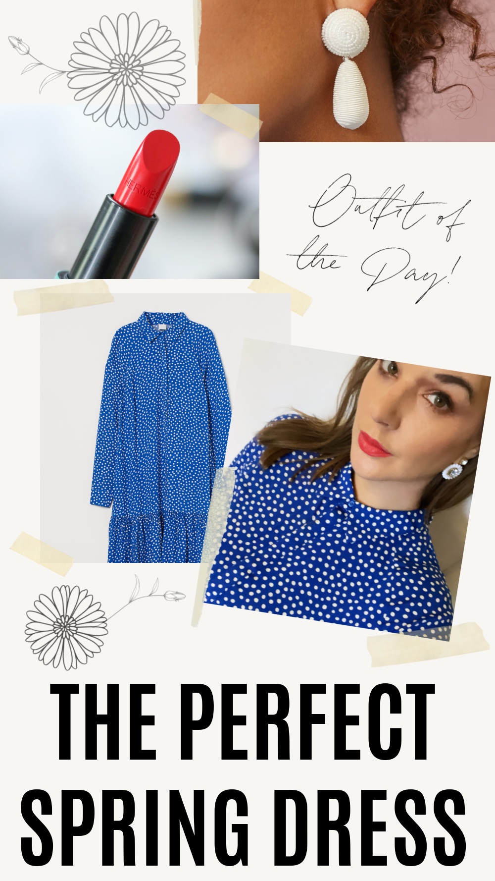 Perfect Spring Dress I Blue Polka Dot Midi Dress from HM Conscious Collection #ootdstyle #fashionstyle #springoutfit