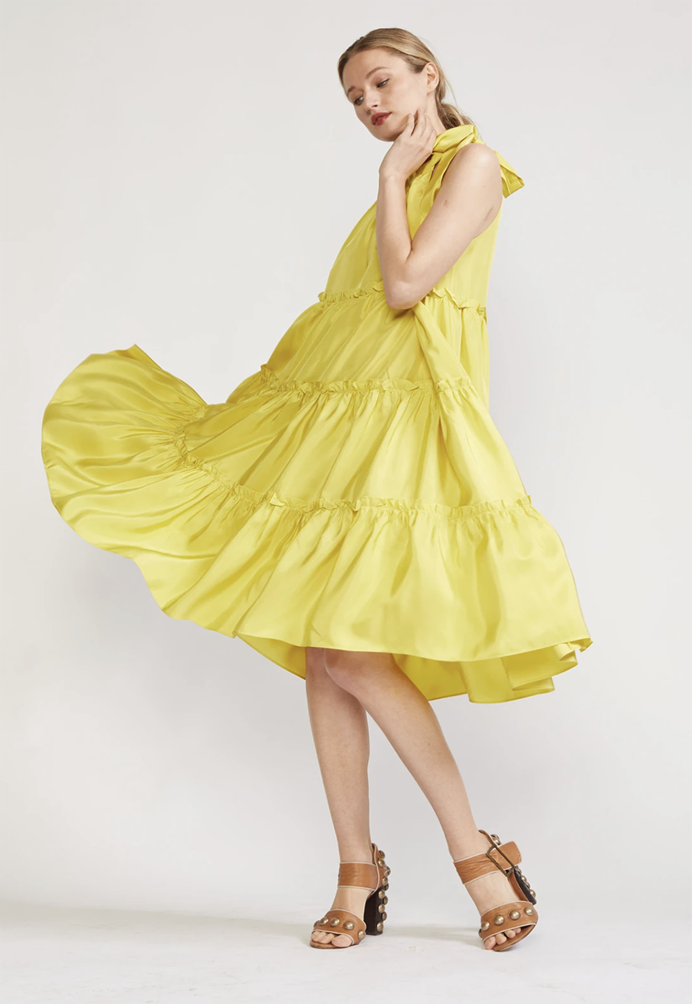 Cynthia Rowley Summer 2021 Styles I Yellow Tiered Halter Dress #summerstyle