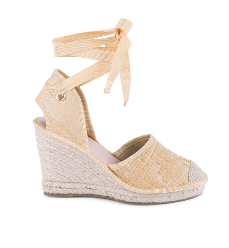 Summer 2021 Espadrilles I Fendi Wedge Sandal with Ankle Tie