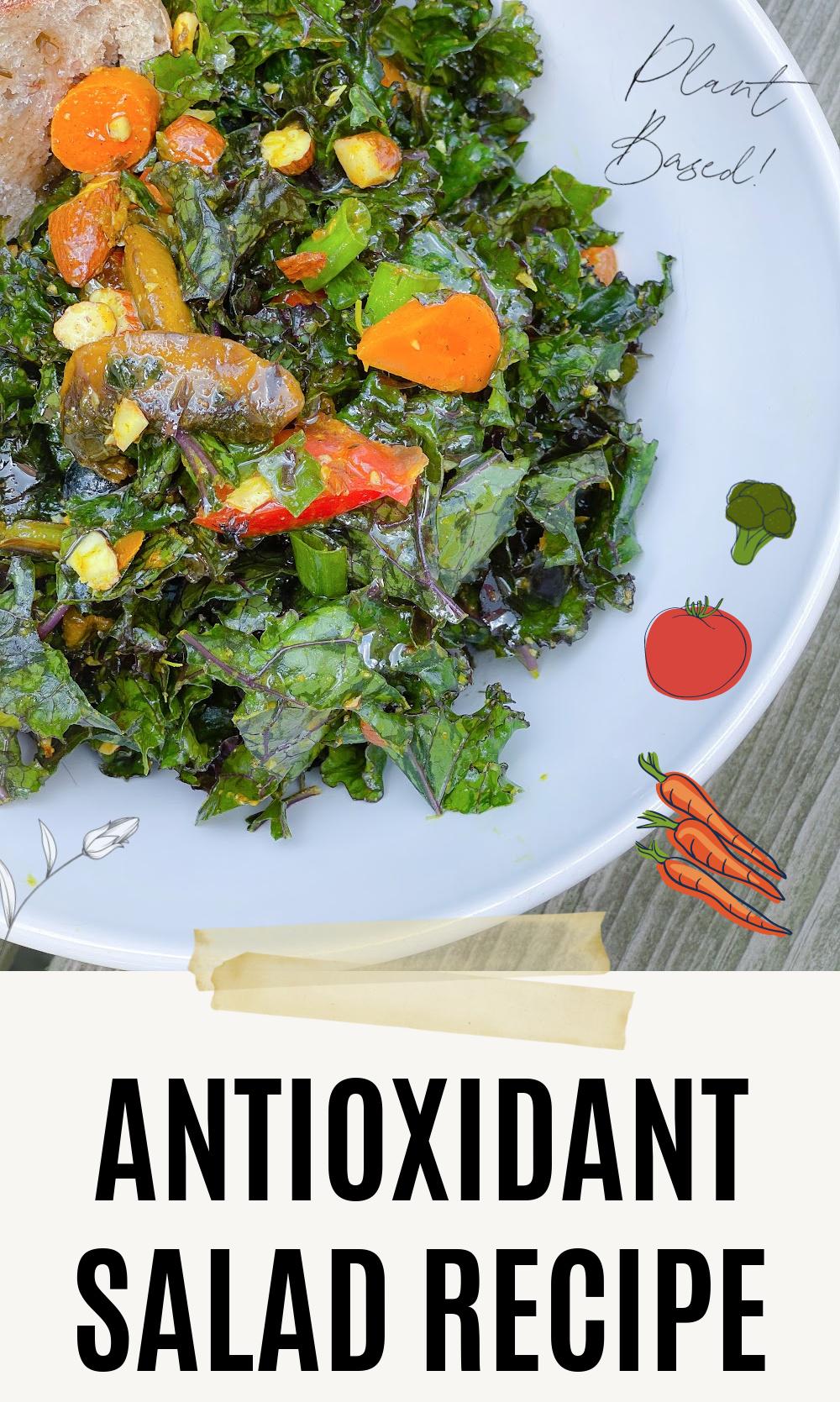 Antioxidant Salad Recipe I DreaminLace.com #plantbased #plantbasedrecipes