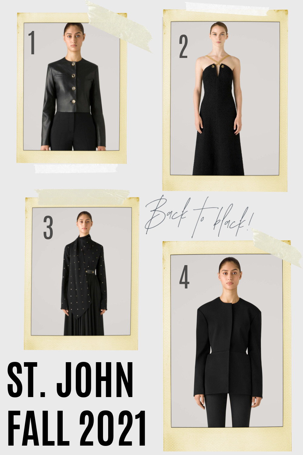 St John Fall 2021 Collection I Black leather jacket and dresses