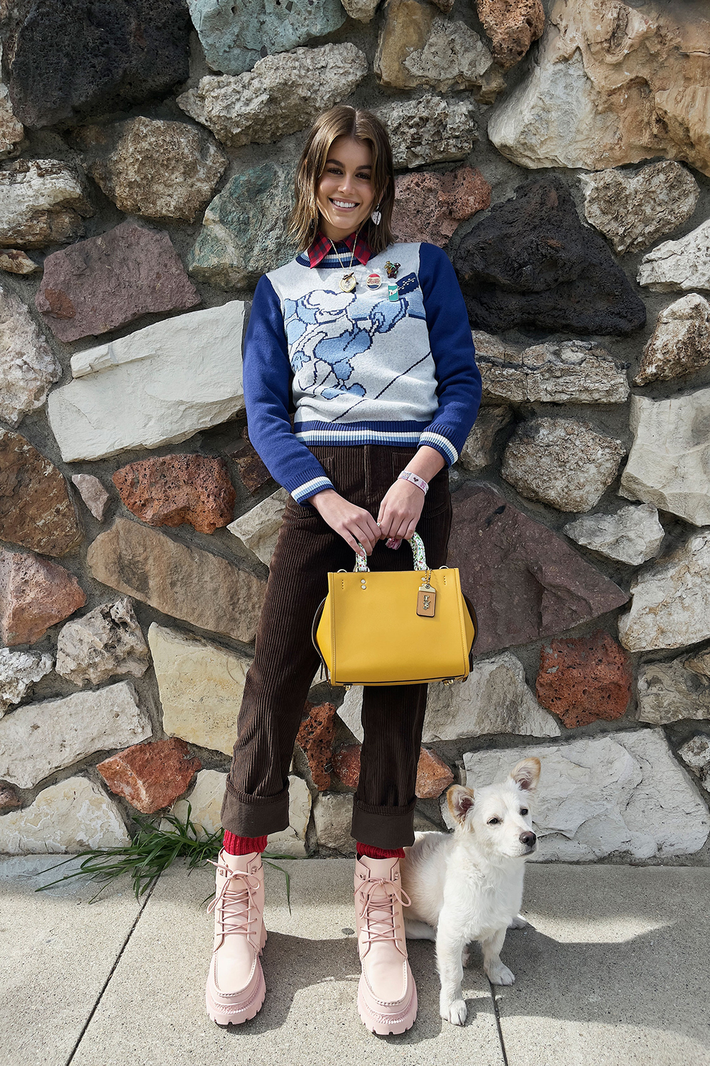 COACH Fall 2021 Collection Corduroy Pants and Mickey Mouse Sweater I DreaminLace.com #fashionstyle #ootdinspo