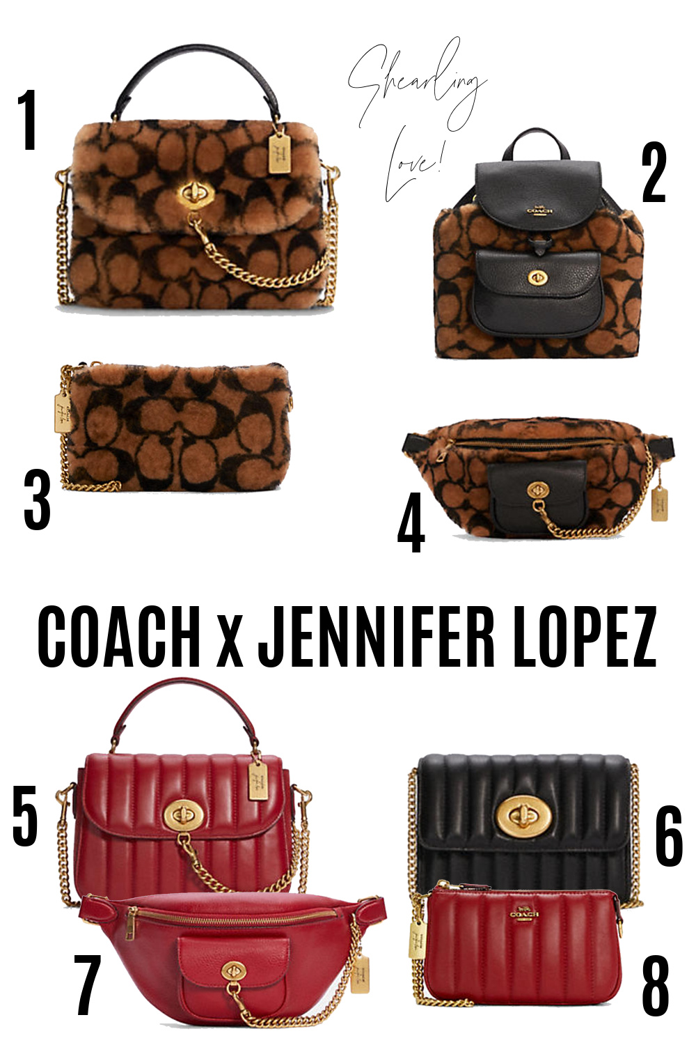 COACH Jennifer Lopez I Shearling and Quilted Leather Handbags