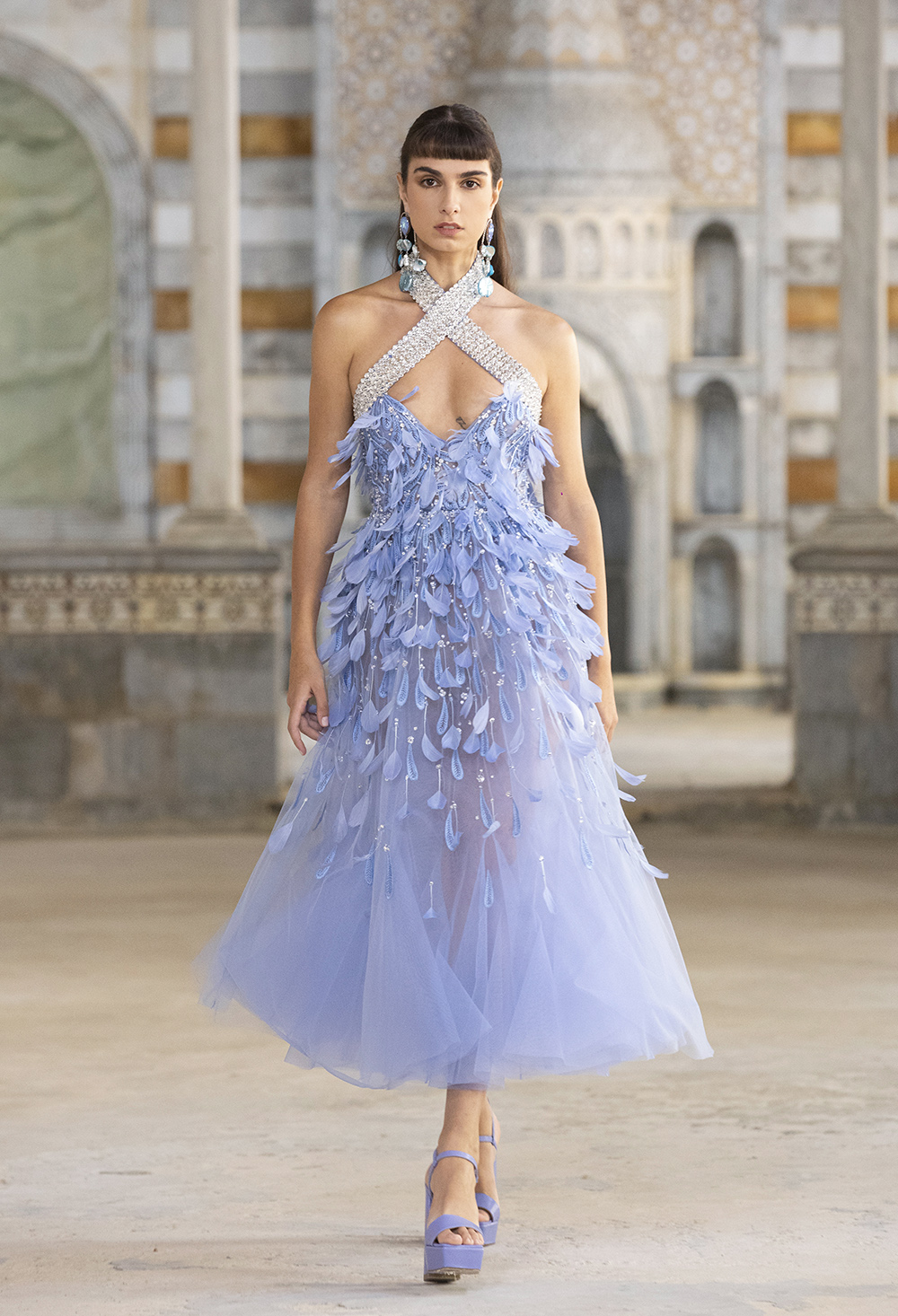 Floral midi dress details from Georges Hobeika's Spring 2022 Collection I DreaminLace.com #fashionstyle