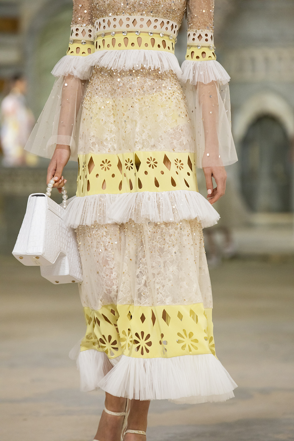 Tiered Lace Midi Dress from Georges Hobeika's Spring 2022 Collection #fashionstyle