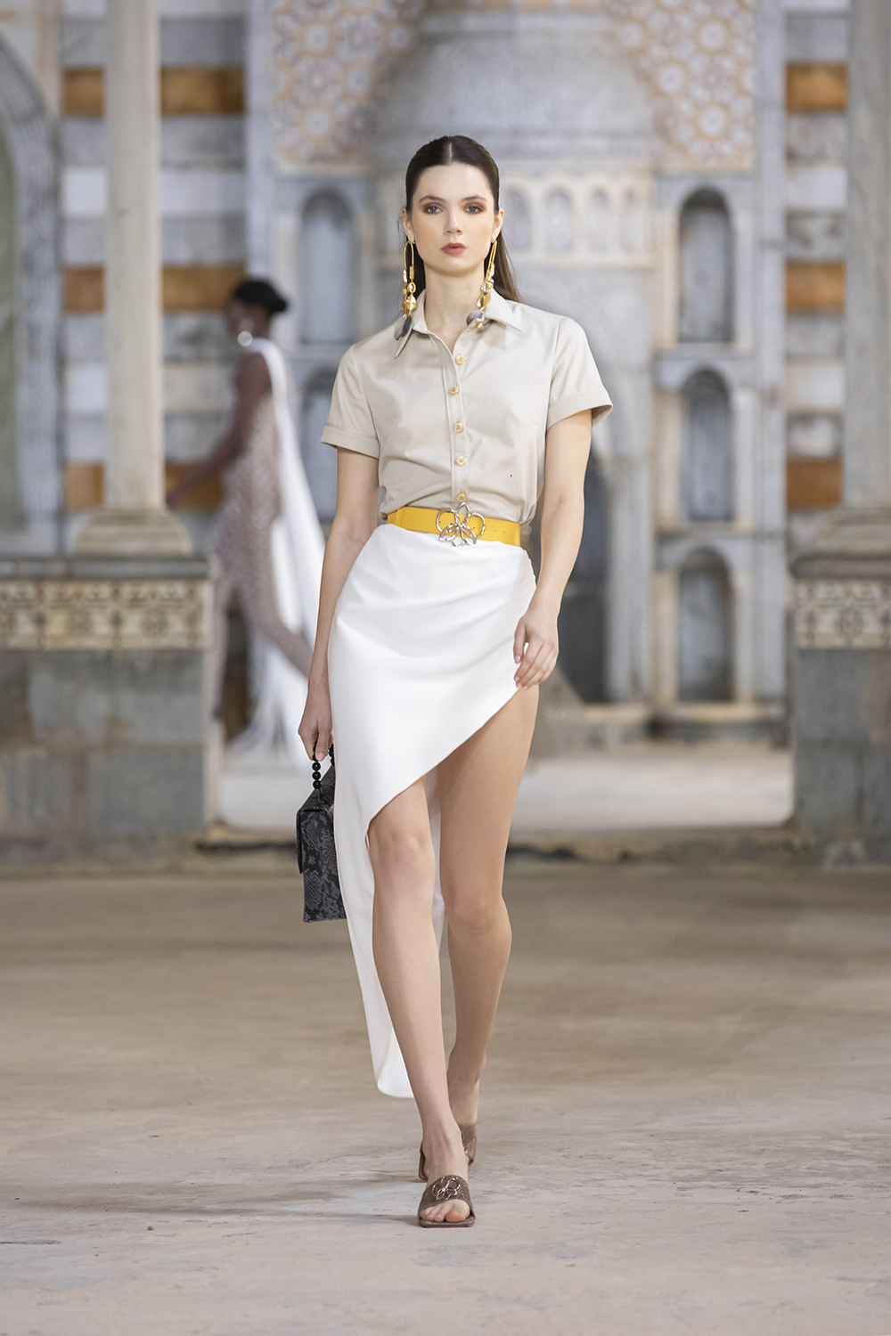 Georges Hobeika SS22 Asymmetrical pencil skirt with crisp collared shirt I DreaminLace.com #fashionstyle